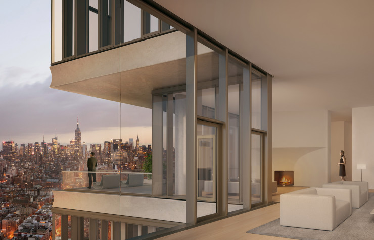 Dix penthouses d'exception occupent le sommet de la tour qui domine Central Park.