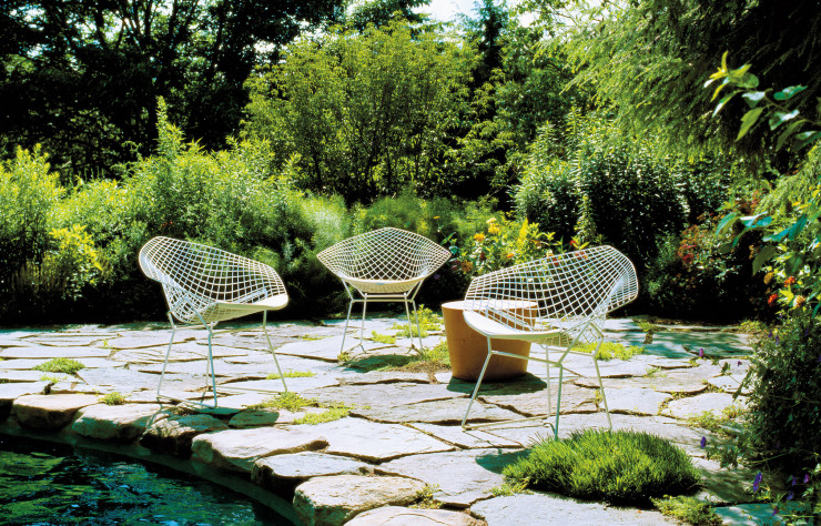 Chaises Diamond de Harry Bertoia.