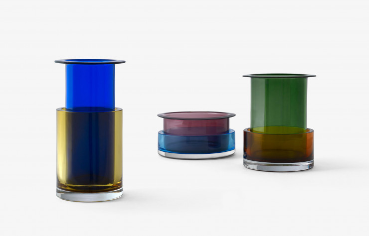 Vases en superposition « Tricolore SH2 » et « Tricolore SH3 », dessinés par Sebastian Herkner pour &Tradition.
