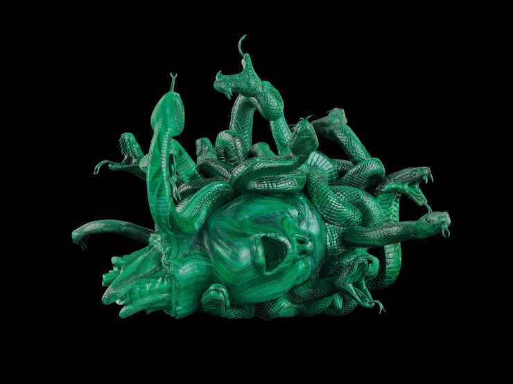 The Severed Head of Medusa, 2008, malachite, 38 x 49,6 x 52 cm