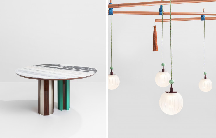 Table « Duale » et lustre « Genio ».