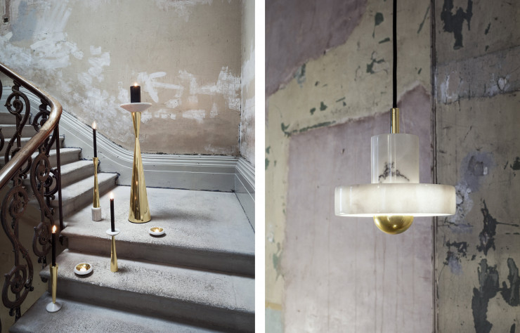 Bougeoirs et suspension « Stone », design Tom Dixon (Tom Dixon).