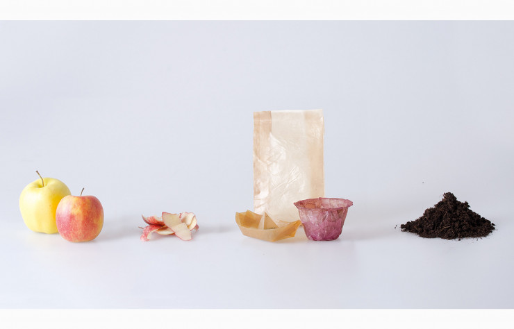 From Peel to Peel, de Emma Sicher, un packaging alimentaire fait de déchets alimentaires.